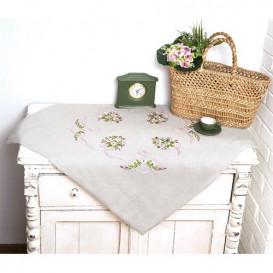 kit nappe à broder fleurs lilas 80x80cm