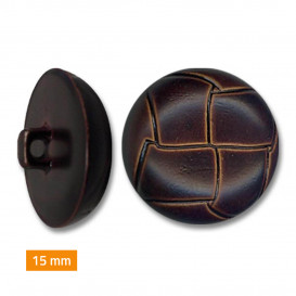 bouton plastique imitation cuir 15mm