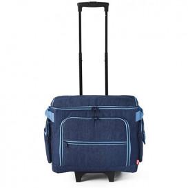 valise trolley pour machine à coudre bleu jeans