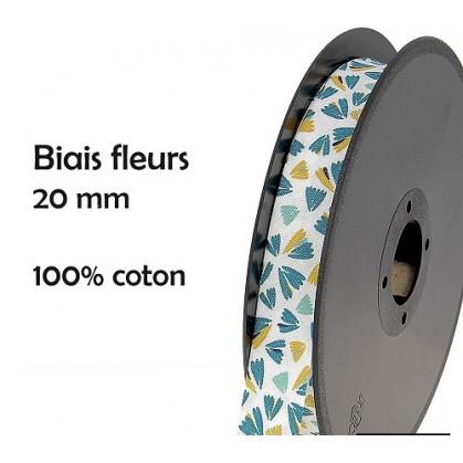coupon 3m biais fleurs bleues/jaunes 20mm