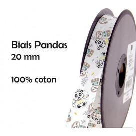 coupon 3m biais pandas blanc 20mm