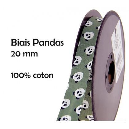 coupon 3m biais pandas vert 20mm