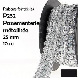bobine 10m galon vague paillettes brillant 25mm