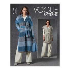 patron gilet, veste, ceinture Vogue V1758