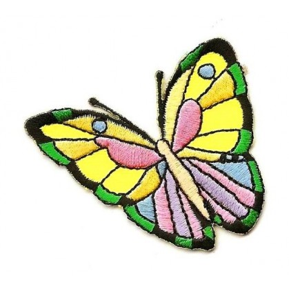 écusson papillon multicolore