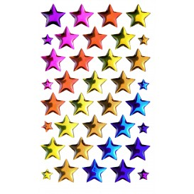 stickers crystal étoiles multicolore 20 pcs