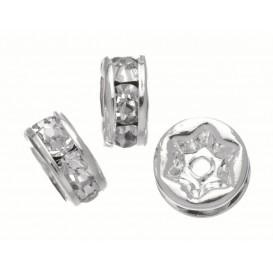 6 perles anneaux rond cristal