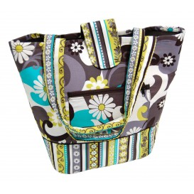 sac tricot ou plage fleurs