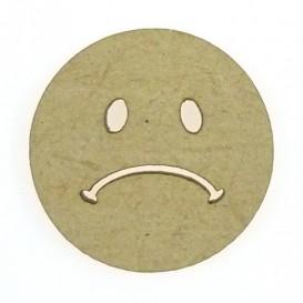 sujet en bois smiley triste
