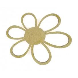 sujet en bois fleur 6 pétales ajourées