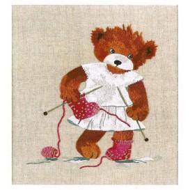 kit broderie imprimée lin tricoteuse