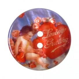 bouton nacre imprimé coeur 27mm