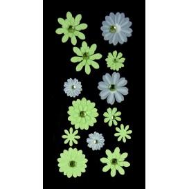 stickers fleur fancy vert et blanc