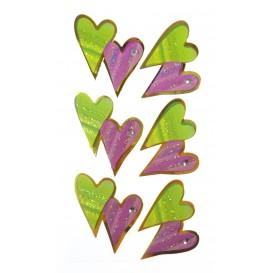stickers coeur lilas et vert