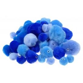 48 pompons perles camaieu bleu