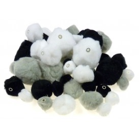 48 pompons perles camaieu gris