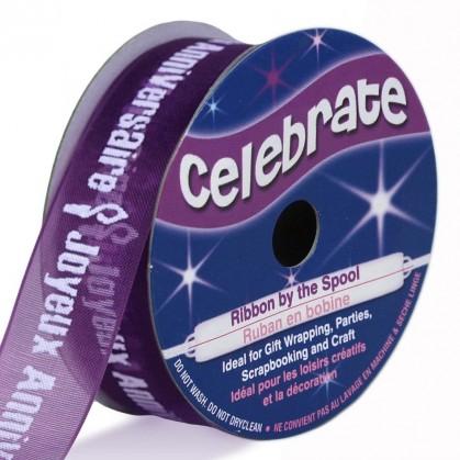 bobine de ruban celebrate organza joyeux anniversaire 15mm x 3,5m