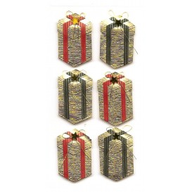 stickers noël boîtes cadeaux dorées