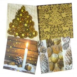 lot de 12 serviettes papier noël marron glacé