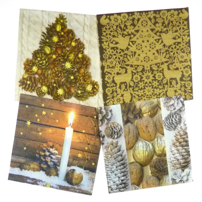 Lot de 12 serviettes papier no l marron glac - Serviette en papier noel ...