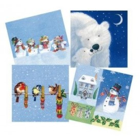 lot de 12 serviettes papier noël tombe la neige