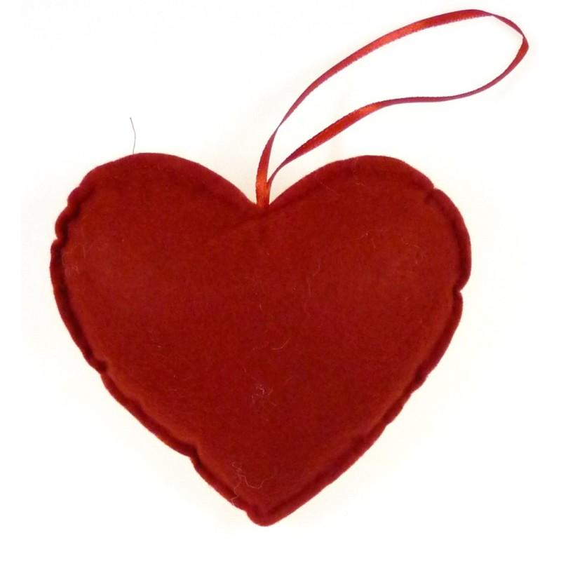 Coeur en feutrine rouge 135x135mm - Decoration coeur rouge ...