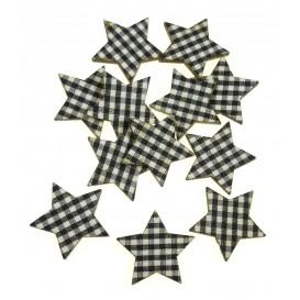 12 étoiles en bois vichy noir 25mm