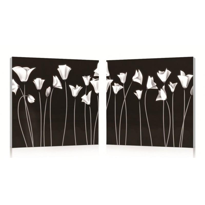 Tableau d coratif impression num rique diptyque fleurs blanches - Tableau triptyque fleurs blanches ...