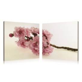 tableau numérique diptyque fleurs roses