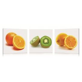 tableau numérique triptyque fruits