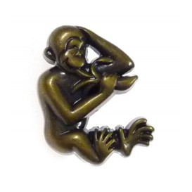 bouton enfant fantaisie singe bronze