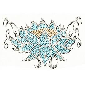 transfert en strass fleur bleue 20,5x13cm