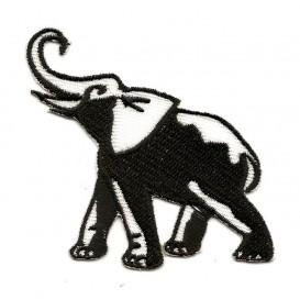 écusson éléphant noir et blanc thermocollant