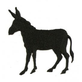 écusson âne noir thermocollant