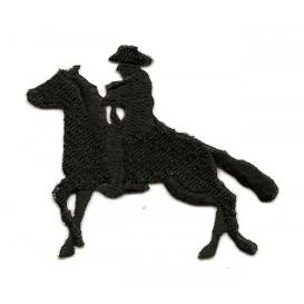 écusson cowboy à cheval noir thermocollant
