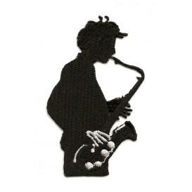 écusson saxophoniste noir et blanc thermocollant