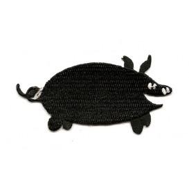 écusson cochon noir thermocollant