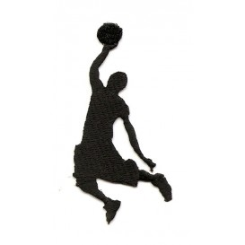 écusson joueur de basket noir thermocollant n°2