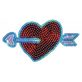 emblème paillettes coeur flèche thermocollant