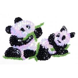 emblème paillettes pandas thermocollant