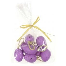 sachet 8 oeufs plastique violet 3x4cm