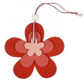 fleurs en bois à suspendre 9,5x9,5cm