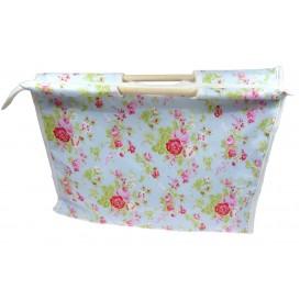sac craft poignées en bois décor fleurs
