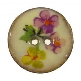 bouton coco laqué imprimé fleurs 25mm n°1