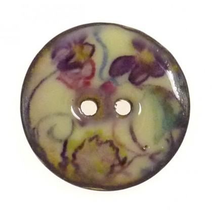 bouton coco laqué imprimé fleurs 25mm n°2