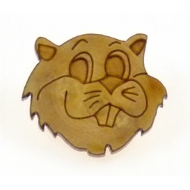 bouton fantaisie bois tête marmotte