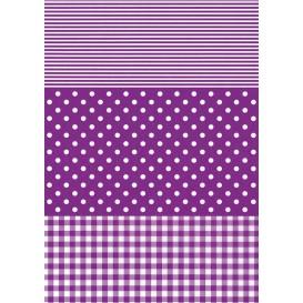 feuille décopatch pois rayures vichy violet