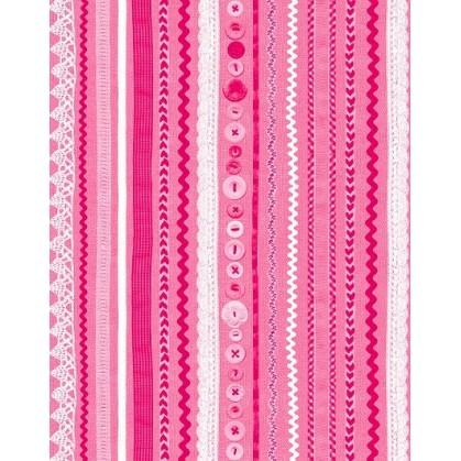feuille décopatch frises et boutons rose