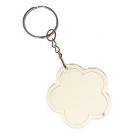 2 porte clés fleur acrylique transparent 4,4cm