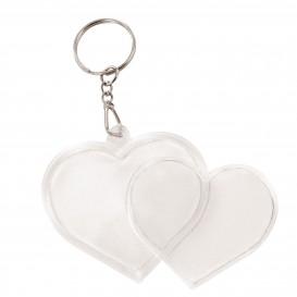 2 porte clés coeur acrylique transparent 4,8x4,5cm
